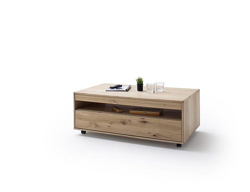 Drewniany stolik kawowy ze schowkiem